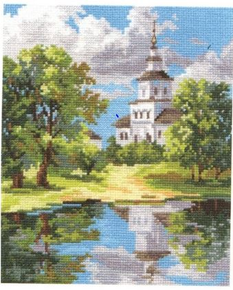 click here to view larger image of Church Near the Pond (counted cross stitch kit)