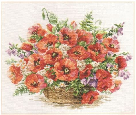 click here to view larger image of Basket Of Poppies (counted cross stitch kit)