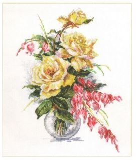 click here to view larger image of Yellow Roses (counted cross stitch kit)