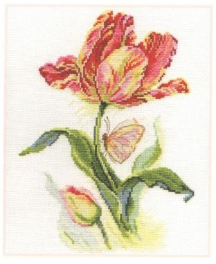 click here to view larger image of Tulip and Butterfly (counted cross stitch kit)