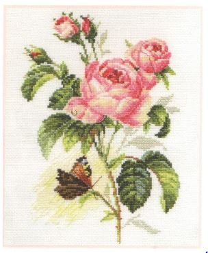 click here to view larger image of Rose and Butterfly (counted cross stitch kit)