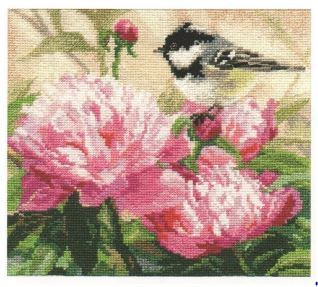click here to view larger image of Titmouse and Peonies (counted cross stitch kit)