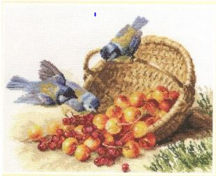 click here to view larger image of Chickadees and Sweet Cherries (counted cross stitch kit)