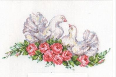 click here to view larger image of Lovebirds (counted cross stitch kit)