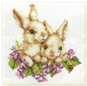 click here to view larger image of Rabbits (counted cross stitch kit)