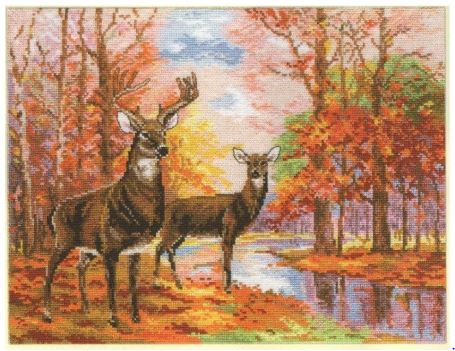 click here to view larger image of Deer in the Forest (counted cross stitch kit)