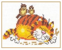 click here to view larger image of Lazy Cat (counted cross stitch kit)