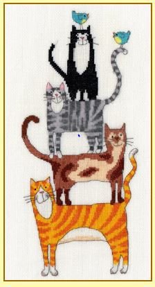 click here to view larger image of Cat Stack (counted cross stitch kit)