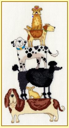 click here to view larger image of Dog Stack (counted cross stitch kit)