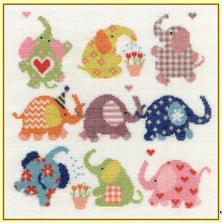 click here to view larger image of Slightly Dotty Elephants (counted cross stitch kit)