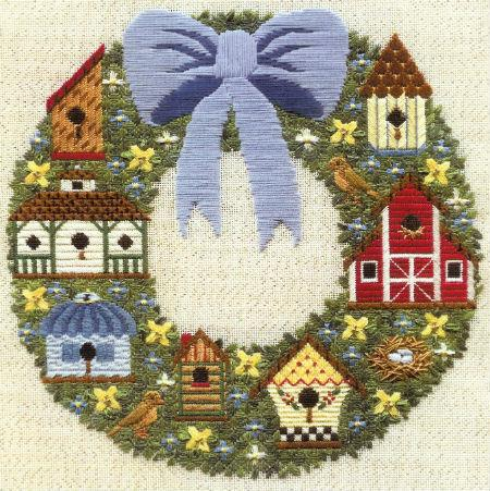 click here to view larger image of Birdhouse Wreath (counted canvas chart)