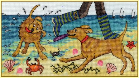 click here to view larger image of Beach Walkies (counted cross stitch kit)