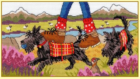 click here to view larger image of Highland Walkies (counted cross stitch kit)
