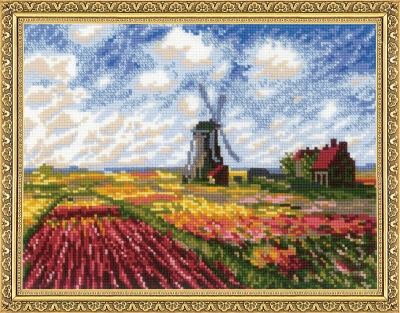 click here to view larger image of Tulip Field After Claude Monet's Painting (counted cross stitch kit)