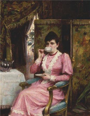 click here to view larger image of Lady Drinking A Cup Of Tea In An Interior (chart)