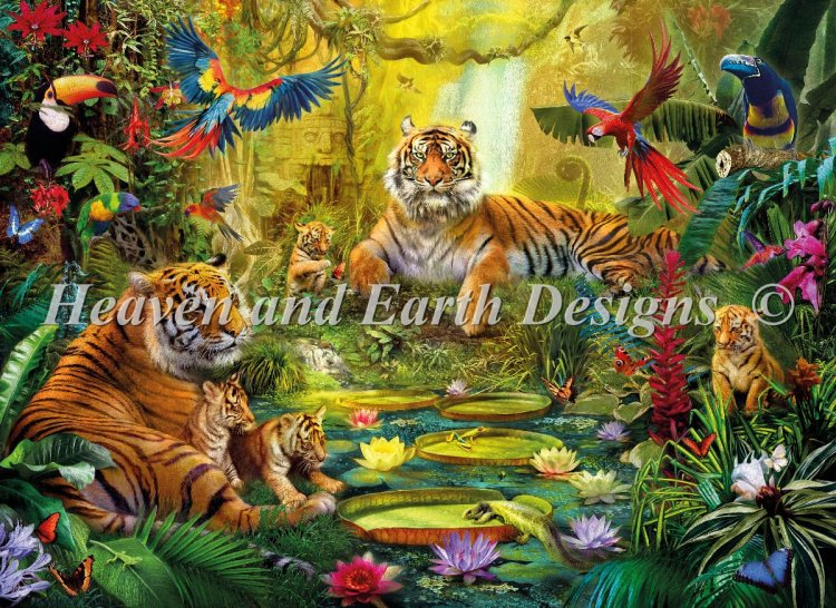 click here to view larger image of Supersized Tiger Family In The Jungle - Max Color (chart)