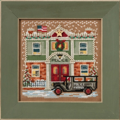 Police Station - Christmas Village Series - click here for more details about counted cross stitch kit