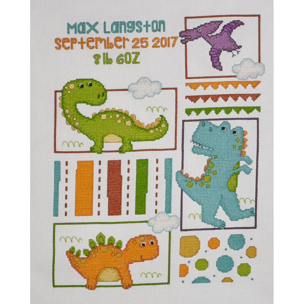 click here to view larger image of Dino Baby Birth Record (counted cross stitch kit)