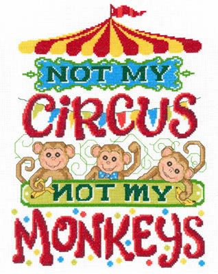 click here to view larger image of Not My Monkeys - Kit (counted cross stitch kit)