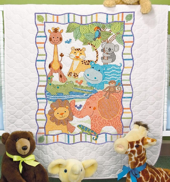click here to view larger image of Mod Zoo Quilt (stamped cross stitch)