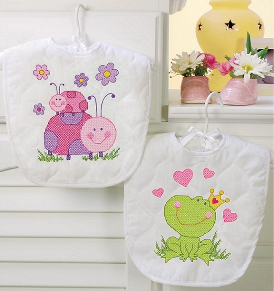 click here to view larger image of Fairy Bibs (stamped cross stitch kit)