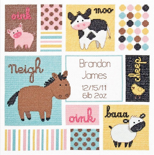 click here to view larger image of Barn Babies Birth Record (counted cross stitch kit)