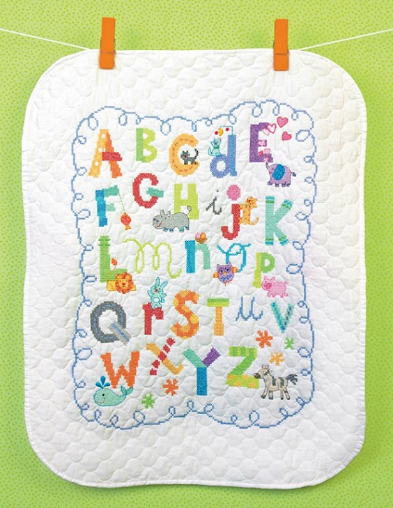 click here to view larger image of Alphabet Quilt (stamped cross stitch kit)