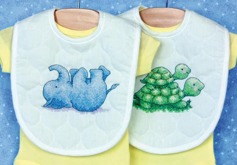 click here to view larger image of Little Pond Bib Pair (stamped cross stitch kit)
