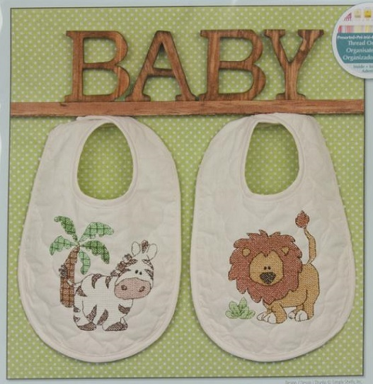 click here to view larger image of Kimba Baby Bibs (stamped cross stitch kit)