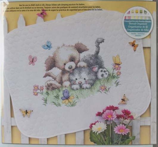 click here to view larger image of Pet Friends Baby Quilt (stamped cross stitch kit)