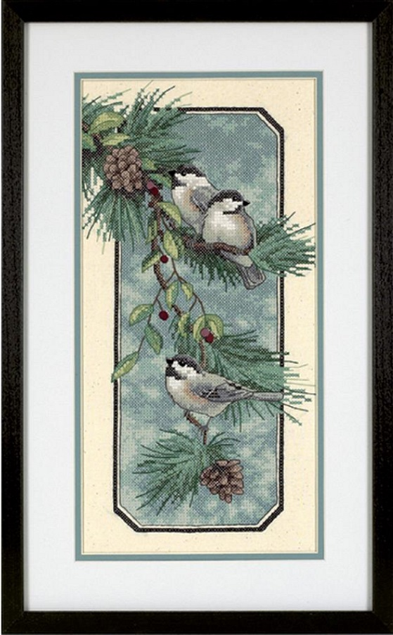 click here to view larger image of Chickadees On A Branch (stamped cross stitch kit)