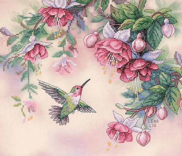click here to view larger image of Hummingbird & Fuchsias (stamped cross stitch kit)