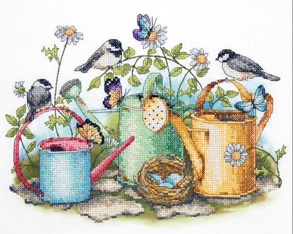 click here to view larger image of Watering Cans (stamped cross stitch kit)