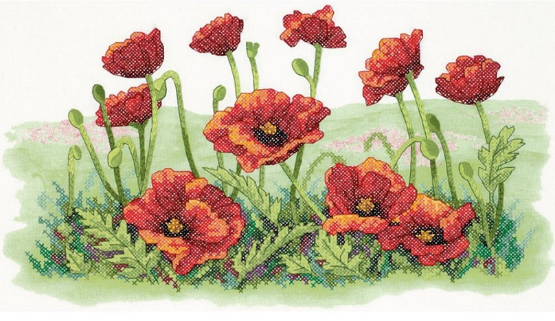 click here to view larger image of Field of Poppies (stamped cross stitch kit)