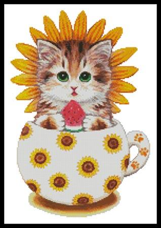 click here to view larger image of Sunflower Kitty Cup (chart)