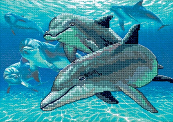 click here to view larger image of Deep Sea Dolphins (counted cross stitch kit)