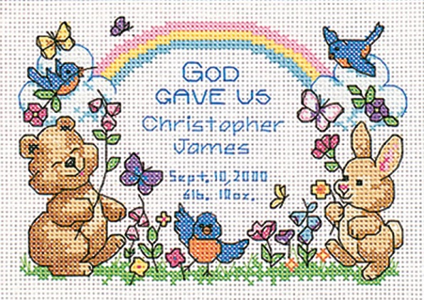 click here to view larger image of Gods Babies Birth Record (counted cross stitch kit)
