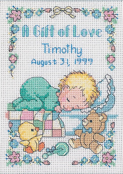 click here to view larger image of Gift of Love Birth Record (counted cross stitch kit)