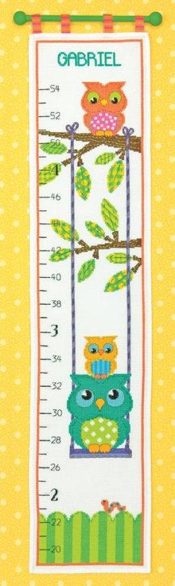 click here to view larger image of Owl Growth Chart (counted cross stitch kit)