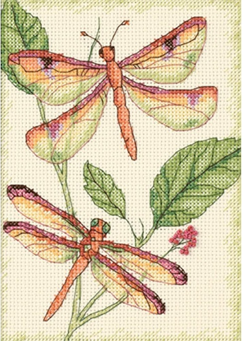 click here to view larger image of Dragonfly Duo (counted cross stitch kit)