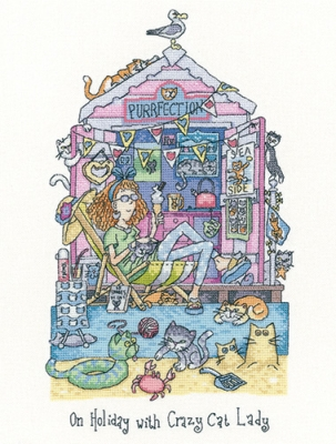 click here to view larger image of On Holiday With Crazy Cat Lady (Evenweave) (counted cross stitch kit)