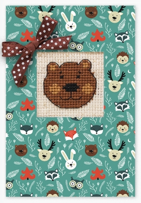 click here to view larger image of Bear Face Card (counted cross stitch kit)