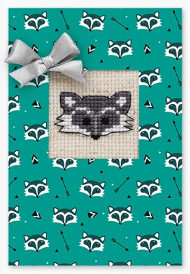 click here to view larger image of Raccoon Face Card (counted cross stitch kit)