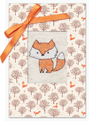 click here to view larger image of Fox And Trees Card (counted cross stitch kit)