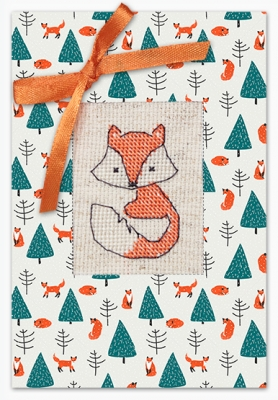 click here to view larger image of Fox And Christmas Tree Card (counted cross stitch kit)