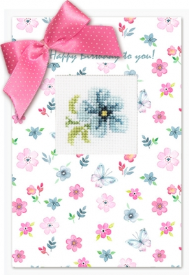 click here to view larger image of Flower Card (counted cross stitch kit)