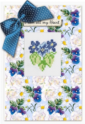 click here to view larger image of Violets Card (counted cross stitch kit)