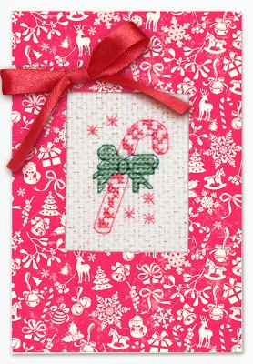 click here to view larger image of Candy Cane Card (counted cross stitch kit)