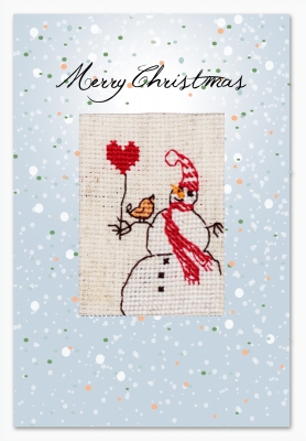 click here to view larger image of Snowman Card (counted cross stitch kit)