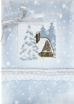 click here to view larger image of Snow Cabin Card (counted cross stitch kit)
